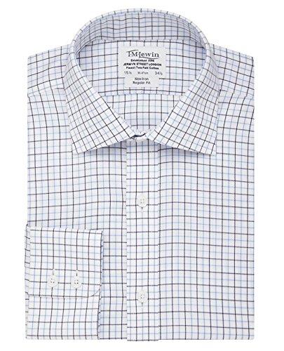 tmlewin-mens-non-iron-check-regular-fit-button-cuff-shirt-navy-blue-155