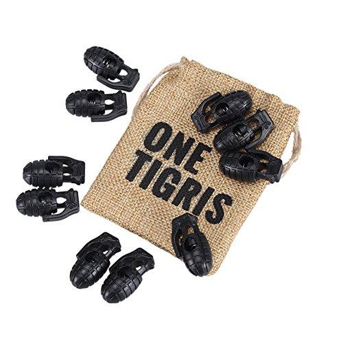 OneTigris 10 Stück Kordelstopper Mini Granate Schnürsenkel Schnalle Kunststoff Schnur Lock für Sport (Schwarz)