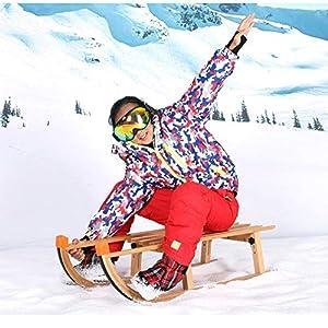 Xiaig Schlitten Verstärktes Buchenholzmaterial Geeignet Rodel Für Kinder Und Erwachsene Im Winter Skifahren