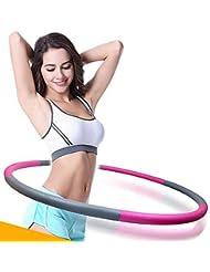 Hula Aro, CONMING Fitness Hula Hoop ejercicio ajustable para adultos y niños ponderado espuma plegable acolchado de 90 cm de ancho (Rosa + Gris)