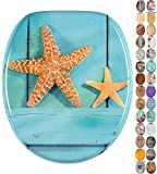 Soft Close Toilet Seat | Wide choice of wooden toilet seats | Stable Hinges | Easy to mount (Starfish)