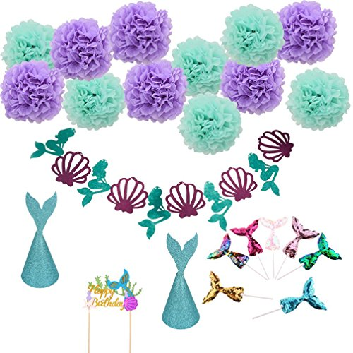Wetrys 23pcs/Set Meerjungfrau Party Supplies & Party Dekorationen für Mädchen Geburtstag, Baby Dusche, Bridal Dusche Dekorationen