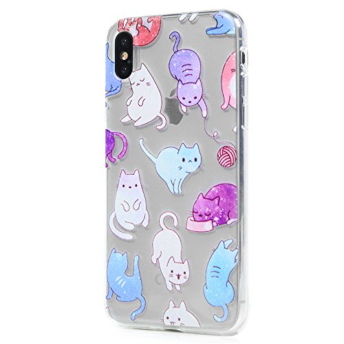 Coque iPhone X Mavis's Diary Étui Housse de Protection TPU Silicone Gel Transparente Phone Case Cover Protection écran Swag pour iPhone X Edition + Chiffon - Plume Chat