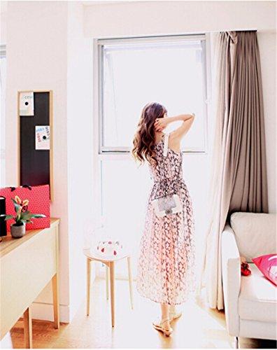 De L'Epaule Licol Floral Retro Modeles Tunique Sans Manches Maxi Longue Robe De Soleil Rose