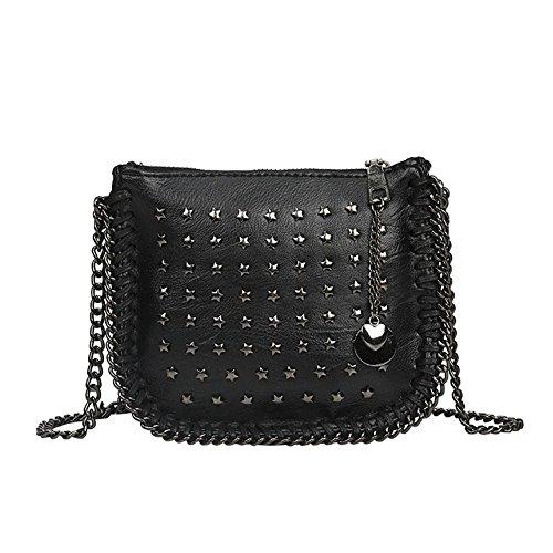 Borsa del messaggero che vaga la borsa del rivetto della spalla delle donne , black black