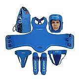 Hochwertige Box Protect Gear Set Helm Brust Groin Shin Protector für Kampf Sport Kickboxen Taekwondo Muay Thai MMA Ausbildung Karate Sparring Body Protector mit Tasche (Farbe : Blau, Größe : S)