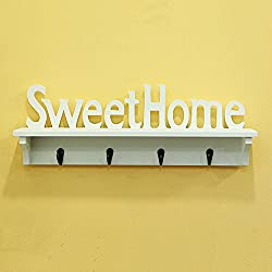 xytmy Sweet Home-Perchero ganchos soporte de pared perchero para sombreros de madera o llave gancho acabado blanco   rústico 4ganchos Home Décor Regalos.