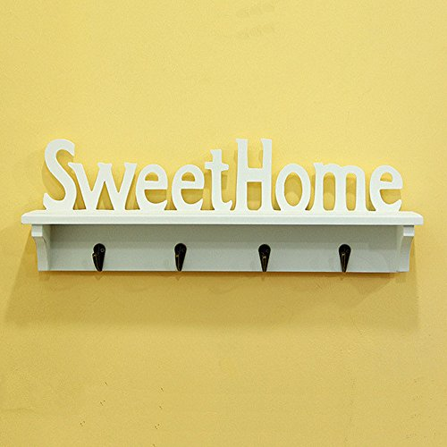 Xytmy Sweet Home Porte-manteau WPC (Bois Thermo – Plastique Composite) support mural Chapeau Rack ou Clé Crochet Blanc Finition | rustique 4 crochets Décoration intérieure cadeaux.