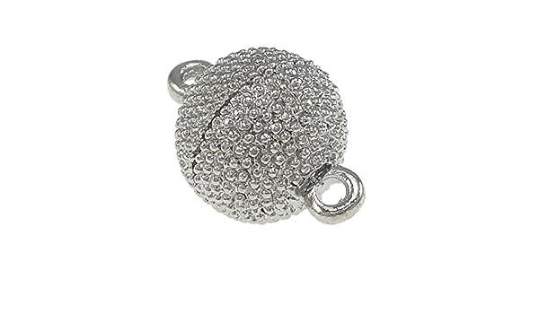 2 Magnetverschlüsse 20mm Rund Silber Stardust  Messing Schmuckverschluss M405