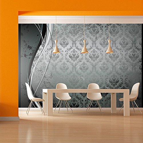 400x280 cm - Vlies Tapete - Moderne Wanddeko - Design Tapete - Wandtapete - Wand Dekoration - Ornament silber schwarz weiß gold blau f-A-0069-a-b (Schwarz, Weiß Und Silber Dekorationen)