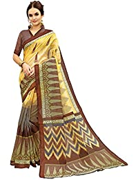 Glory Sarees Women's Bhagalpuri Art Silk Saree(gloryart12_brown)
