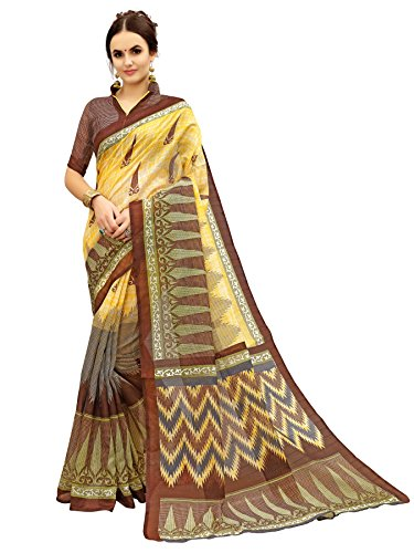 Glory Sarees Women\'s Bhagalpuri Art Silk Saree(gloryart12_brown)
