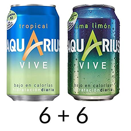 Aquarius Vive Nuevo Lima Limon y Tropical Pack de 12 unidades 6 Aquarius Vive Lima Limon y 6 Aquarius Vive Tropical Lata de