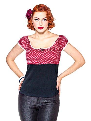Rum ble59Mujer–Carmen Camiseta–Sweet Polkadots–Color Rojo Weinrot mit weißen Punkten X-Large