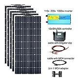 XINPUGUANG Kit pannello solare flessibile 500W 5pcs 100W 18V Modulo fotovoltaico monocristallino 50A Controller per camion camper Barca 12v Impianto domestico Carica batteria (500w)
