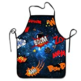 DHYDREAM Apron Boom WPW Huh POW Colorful Cooking Funny Apron for Kitchen BBQ Barbecue Cooking Grilling Tailgate Bacon