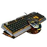 Gaming Tastatur und Maus Set,SUAVER Wired LED Hintergrundbeleuchtung Tastatur Maus,Metall USB Wasserdicht Tastatur Gaming Maus(800/1200/2400/3200 DPI) für Pro PC Gamer (Schwarzes/gelbes Licht)