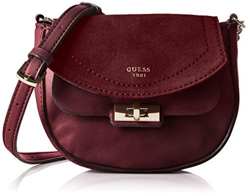 Guess Kingsley Petite Crossbody Flap Borsa a Tracolla, Donna, Rosso (Bordeaux)