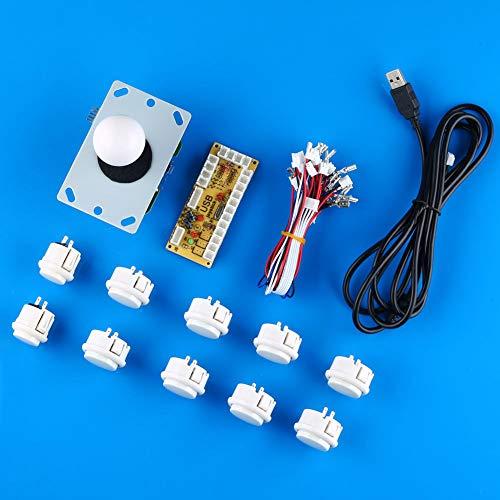 China-tasten (FidgetGear Arcade DIY Kits Teile USB Encoder zu PC China Sanwa Joystick + weiße Tasten)