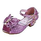 Kinder Prinzessin Schuhe Sandale Ballerina - Tyidalin mit Schmetterling und Paillette für Mädchen Kostüm Karneval Party Geburtstag Rosa Gr.33