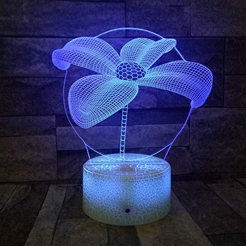 3D Illusion Blume Nacht Nacht 7 Farbwechsel Fernbedienung/Touch Weiß Riss Basis LED USB Tischlampe Mädchen Geschenk Party Decor han-10358 -