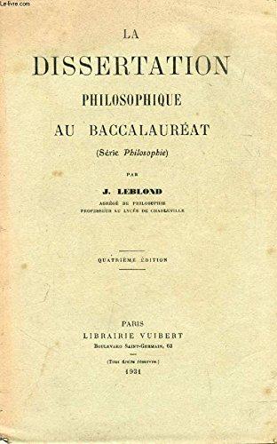 LA DISSERTATION PHILOSOPHIQUE AU BACCALAUREAT (Série Philosophie)