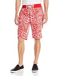Southpole Men's Jogger Shorts with All Over Geometric Triangular Patterns