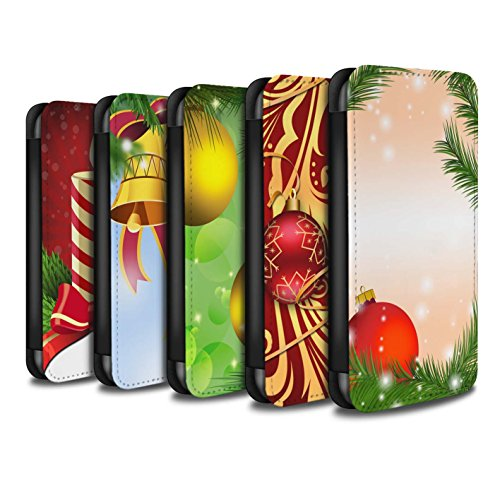 Stuff4 Coque/Etui/Housse Cuir PU Case/Cover pour Apple iPhone X/10 / Pack 9pcs Design / Décoration Noël Collection Pack 9pcs