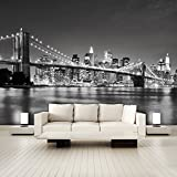 murimage Papier New York 366cm x 254cm Photo Mural Manhattan Brooklyn Bridge Architecture Pont USA Cité Wallpaper Colle Inclus