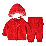 Bekleidung Longra Säugling neugeborenes Mädchen Kleidung Lace Cardigan + Lange Hosen + Mütze Hut Set Outfit Baby Kleidung(0-12Monate) (50CM 0-3Monate, red)