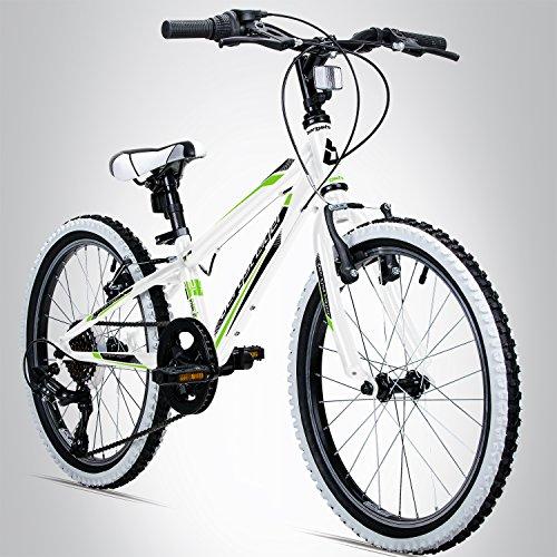 Bergsteiger Kansas 24 Zoll Kinderfahrrad, geeignet für 8, 9, 10, 11 Jahre, Shimano 6 Gang-Schaltung, Mountainbike mit Weißwandbereifung, Jungen-Fahrrad, Mädchen-Fahrrad (Ghost Fahrrad)