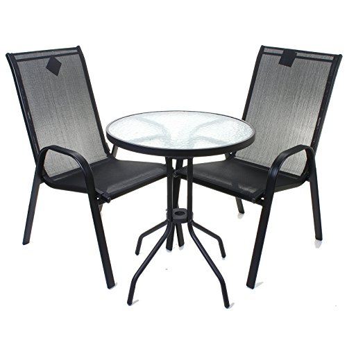 3 Piece Black Bistro Set Outdoor Garden Furniture Glass Table & High Back Chairs