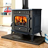"Lincsfire Metheringham JA031 13KW MultiFuel WoodBurning Stove Clean Burn WoodBurner Cast Iron Log Burner Woodburning Fireplace + One Free 6"" Flue Pipe"