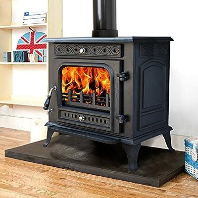 """Lincsfire Metheringham JA031 13KW MultiFuel WoodBurning Stove Clean Burn WoodBurner Cast Iron Log Burner Woodburning Fireplace + One Free 6"""" Flue Pipe"""