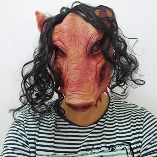 S+S Halloween Maske Gruselig Unheimlich Hässlich Tier Schwein Kopf Mit Haar Faul Latex Erwachsene Maske Halloween Parodie Party Kostüm Dekoration Requisiten