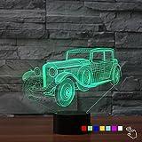3D Lampe 3D Oldtimer 3D LED Stimmungslicht. 7 verschiedene Farben wählbar - Auswahl aus 81 verschiedenen Motiven, Akkordeon 21x15cm inkl.Sockel - 3D Illusion Dekolicht mit USB Anschluß und 220V USB Netzteil