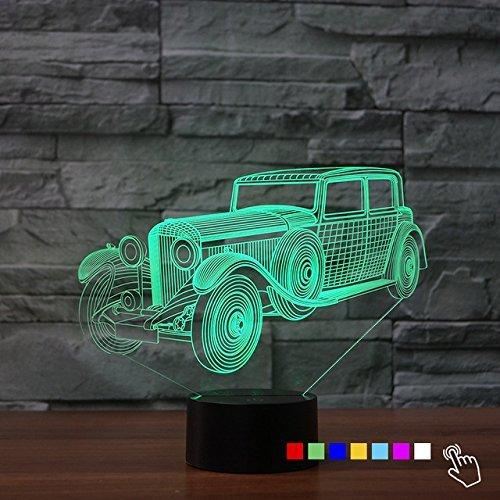 Preisvergleich Produktbild 3D Lampe 3D Oldtimer 3D LED Stimmungslicht. 7 verschiedene Farben wählbar - Auswahl aus 81 verschiedenen Motiven, Akkordeon 21x15cm inkl.Sockel - 3D Illusion Dekolicht mit USB Anschluß und 220V USB Netzteil