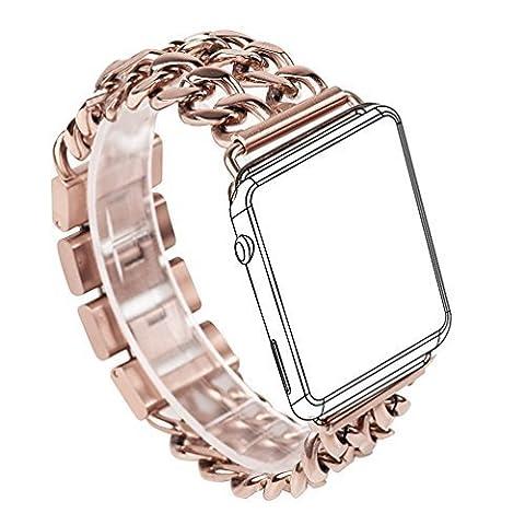 Für Apple Armband, Wearlizer Edelstahl Uhrenarmband Ersatzband für beide Apple Watch Series 1 und Serie 2 - 38mm Silber