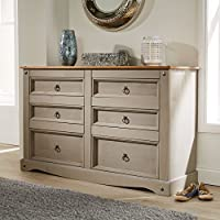 Home Source Corona Grey Chest of Drawers Pine 6 Drawer Solid Pine Mexican Wooden Sideboard