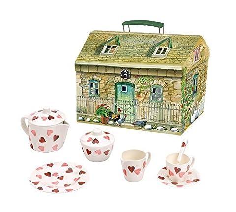 Emma Bridgewater Pink Hearts 19 Piece Melamine Tea Set in House Carry Box
