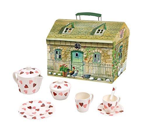 Emma Bridgewater Pink Hearts 19 Piece Melamine Tea Set in House Carry Box by Elite Tin Treats