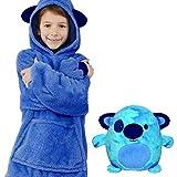 AITOCO Plüsch Hoodie Kinder Decke Sweatshirt, Faltbares 2-in-1-Haustierkissen Warm, Weich, Gemütlich, Deformierter Hoodie Einheitsgröße für Kinder, Jungen, Mädchen