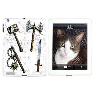 Fantasy Mittelalter Waffen–Axt Schwert Mace War Hammer–Snap on Hard Schutzhülle für Apple iPad 234–Weiß