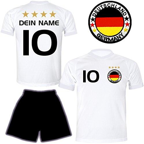 ElevenSports Deutschland Trikot + Hose mit GRATIS Wunschname + Nummer + Wappen Typ #D 2018 im EM/WM weiss - Geschenke für Kinder,Jungen,Baby. Fußball T-Shirt personalisiert als Weihnachtsgeschenk (Kinder Deutschland Fußball-trikot)