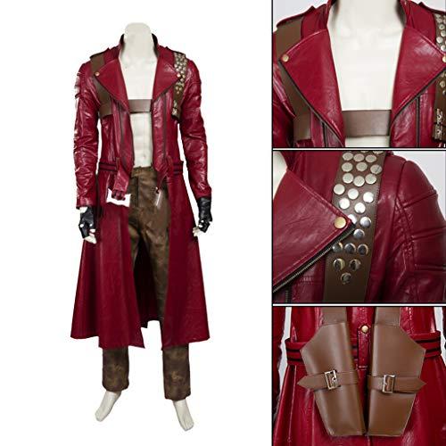 nihiug Spiel Devil May Cry 3 Dante Cosplay Kostüm Herren Red Long Trench Coat Leder Angepasst (Devil May Cry 5 Dante Cosplay Kostüm)