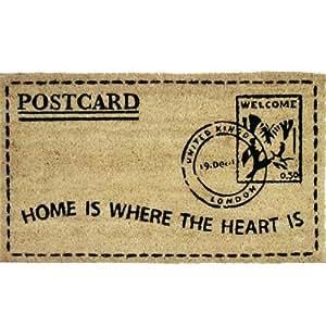 Paillasson en fibre de coco et pvc design timbre avec - Paillasson en anglais ...