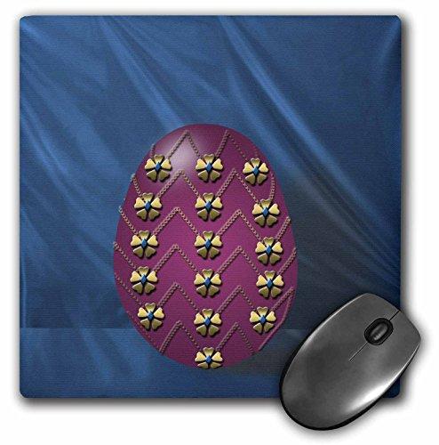 3drose LLC 20,3x 20,3x 0,6cm Maus Pad, auf elegante Musikspieluhr Fabergé-Ei bereit für Ostern Morning Edelsteinbesetztes Maroon Ei auf einen Vorhang Blaugrün (MP 44025_ 1)
