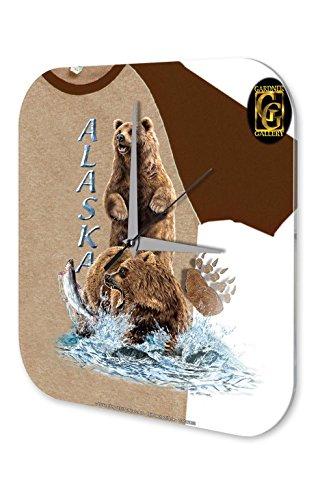 Wanduhr Abenteurer Wand Deko Marke Alaska Lachsfang Bären Dekouhr 25x25 cm