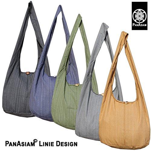 Panasiam© Schulterbeutel, hier in 2 Größen, vielen Farben & Design, mit extra Innentasche, aus fester freshrunk Baumwolle, NEU: mit doppelten Stoff.. Liniedesign: Oliventon