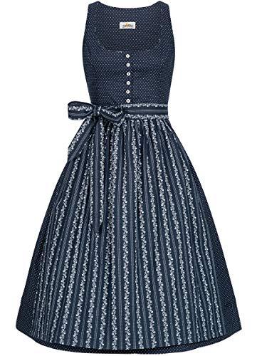Almsach Damen Trachten-Mode Midi Dirndl Renate traditionell Gr.32-54, Größe:44, Farbe:Blau/Blau